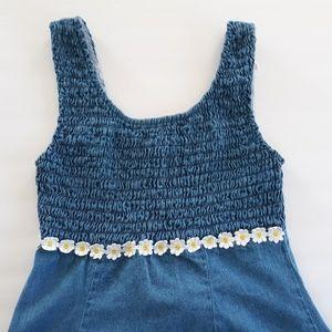 Denim Juniors Dress with Daisy Applique at Waist
